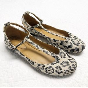 See By Chloe Leopard Canvas T Strap Ballet Flats